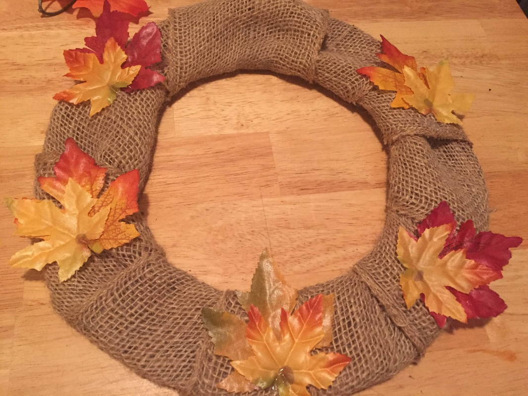 DIY Fall Leaves Wreath step 2