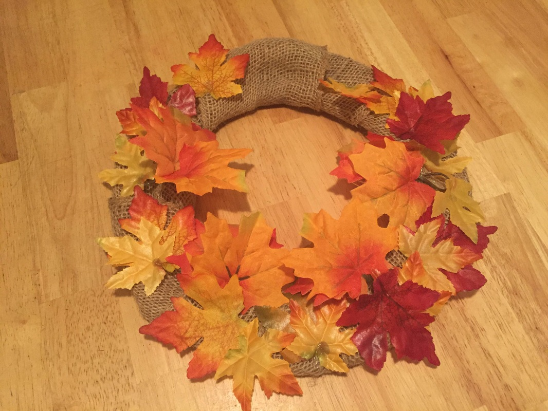 DIY Fall Leaves Wreath Steps 3 and 4