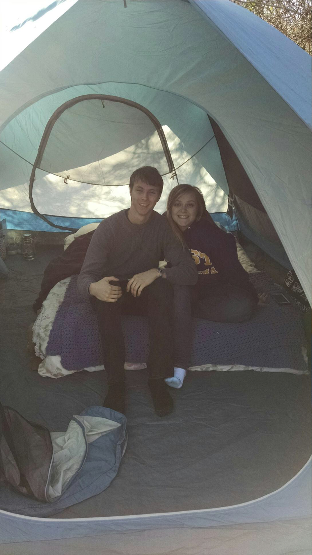 Zack and I Camping in our tent