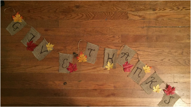 Picture, Thanksgiving, DIY, Banner, Decor, Decorations, Holidays, Fall, Leaves, Burlap, Twine