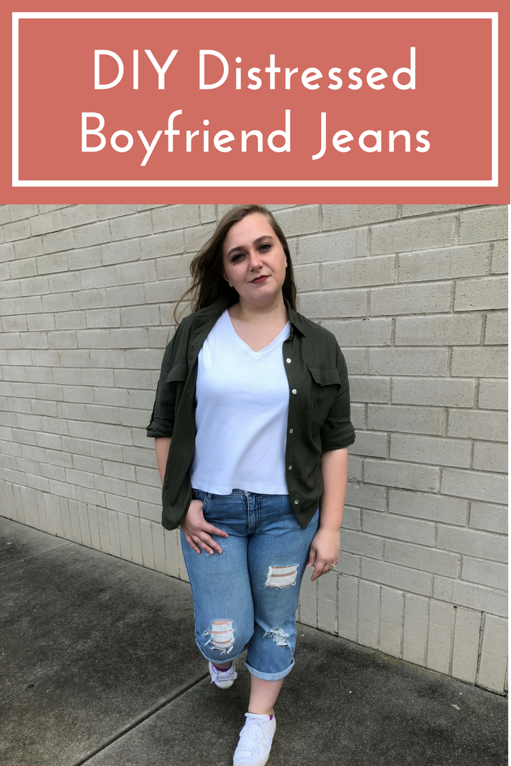 diy distressed boyfriend jeans | how to make ripped jeans