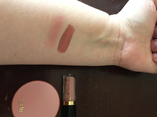 Sephora free birthday makeup Tarte blush and lipstick
